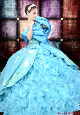 2017 Western Style Luxurious Brush Train Embroideried and Ruffled Quinceanera Dress in Organza and Taffeta