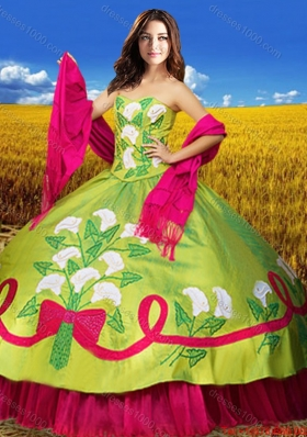 2017 Western Style Puffy Skirt Quinceanera Dress in Olive Green and Hot Pink