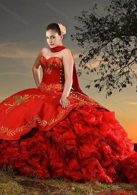 Western Theme Popular Sweetheart Organza and Taffeta Red Quinceanera Dress with Brush Train