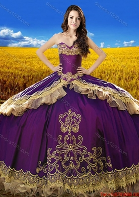 2017 Beautiful Sweetheart Eggplant Purple Quinceanera Dress with Embroidery and Beading