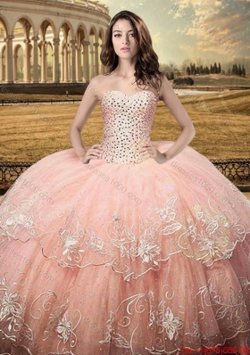 2017 Classical Puffy Skirt Sweetheart Quinceanera Dress with Embroidery and Beaded Bodice