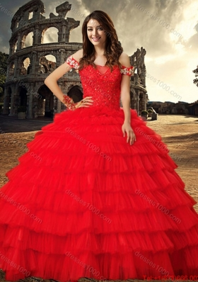 2017 Most Popular Beaded and Ruffled Layers Tulle Red Quinceanera Dress with Chapel Train