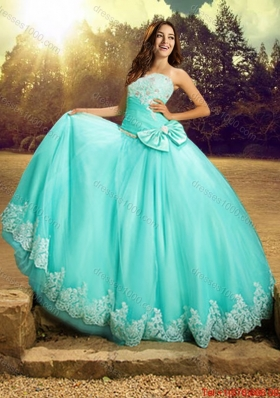 2017 New Style Really Puffy Strapless Bowknot and Laced Quinceanera Dress in Turquoise
