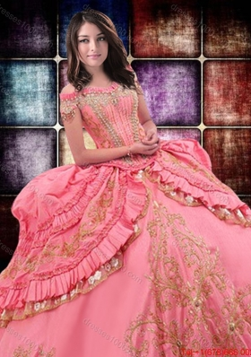 2017 Wild West Luxurious Off The Shoulder Watermelon Red Quinceanera Dress with Beading and Ruffled Layers