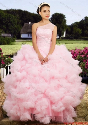 Affordable See Through One Shoulder Baby Pink Tulle Quinceanera Dress with Beaded Bodice