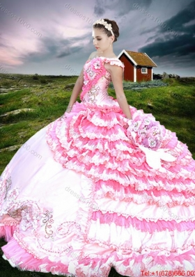 Exquisite One Shoulder Two Tone Quinceanera Dress with Beading and Ruffled Layers