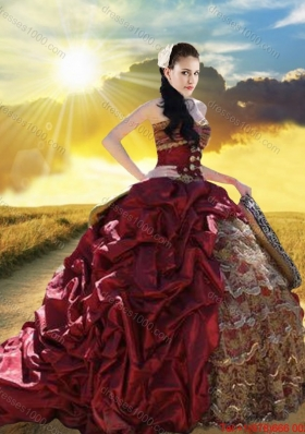 Lovely Ruffled Layers and Bubble Taffeta and Laced Quinceanera Dress with Brush Train