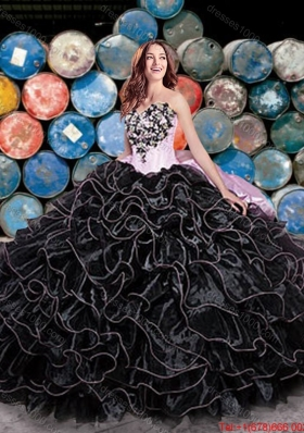 Perfect Puffy Skirt Beaded and Ruffleed Black Quinceanera Dress with Pick Ups