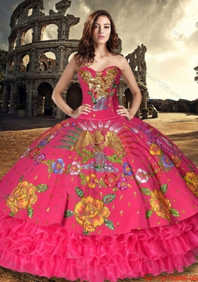 Western Style Discount Organza and Taffeta Sweet 16 Dress with Embroidery and Ruffled Layers