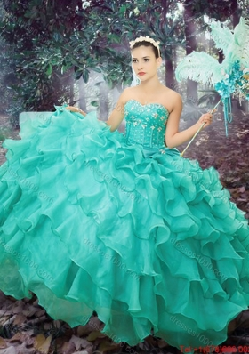 Western Theme 2017 Simple Sweetheart Turquoise Quinceanera Dress with Beading and Ruffled Layers