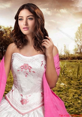 Western Theme Popular Really Puffy Embroideried and Bowknot Taffeta Quinceanera Dress in White