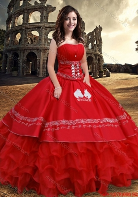 Exquisite Puffy Skirt Organza Strapless Ruffled Layers Quinceanera Dress in Red
