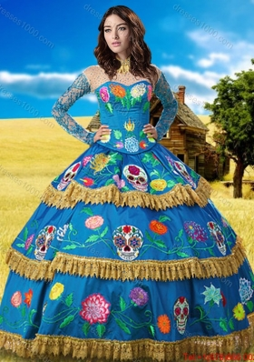 Western Theme Pretty See Through High Neck Embroideried Quinceanera Dress with Long Sleeves
