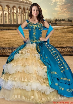 Western Style Pretty Embroideried and Ruffled Layers Quinceanera Dress in Champagne and Teal