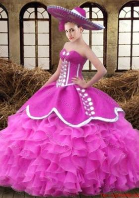 Beautiful Big Puffy Sweetheart Ruffled Organza Quinceanera Dress in Fuchsia