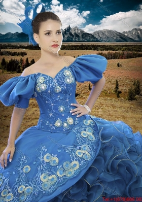 Country LifeStyle New Applique and Ruffled Off The Shoulder Quinceanera Dress with Short Sleeves