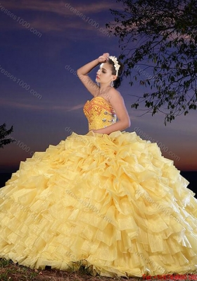 Cowgirl Best Selling Organza Yellow Sweet 16 Dress with Beading and Ruffled Layers