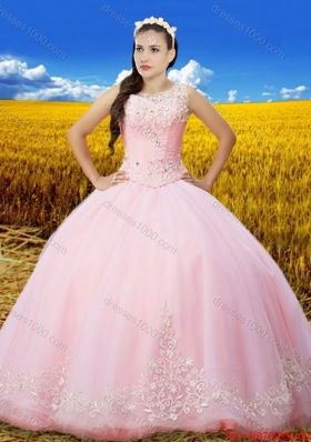 Unique See Through Scoop Laced Baby Pink Quinceanera Dress with Embroidery and Beading