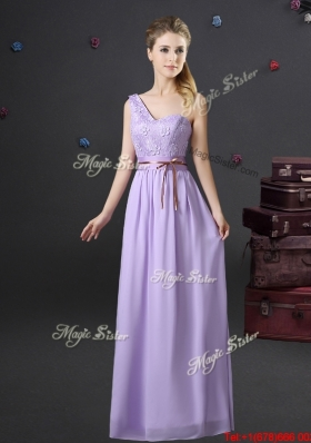 2017 Best One Shoulder Lavender Prom Dress with Belte and Appliques
