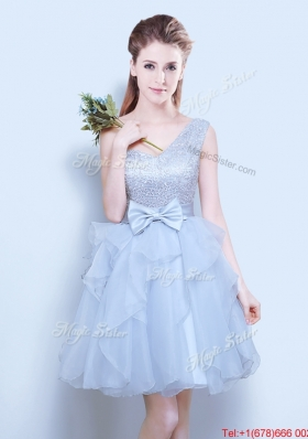 2017 Discount Grey One Shoulder Short Dama Dress in Organza