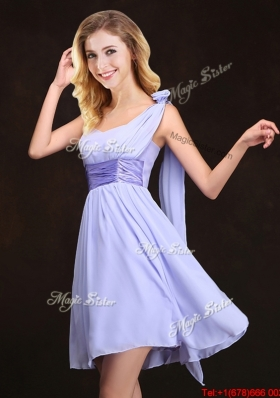 2017 Exquisite Lavender Mini Length Dama Dress with Handmade Flower