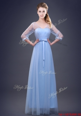 2017 Exquisite Tulle Empire Half Sleeves Dama Dress in Light Blue