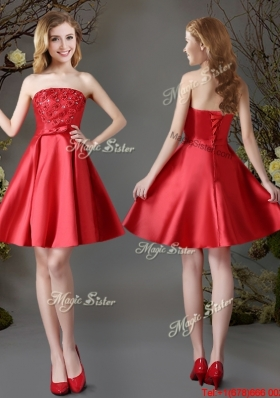 2017 Hot Sale Applique Red Strapless Short Dama Dress in Satin
