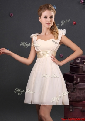 2017 Hot Sale Straps Champagne Dama Dress with Bowknot and Ruching