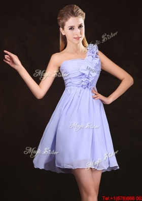 2017 Perfect Chiffon Ruched and Ruffled Dama Dress in Lavender