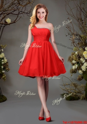 2017 Traditional Red One Shoulder Empire Beaded Top Dama Dress