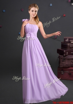 2017 Wonderful Ruched Handcrafted Flowers One Shoulder Lavender Dama Dress