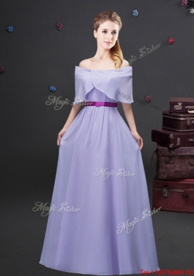 Affordable Chiffon Lavender Long Dama Dress with Off the Shoulder