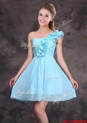 Best Chiffon Short Dama Dress with Ruffled Decorated One Shoulder