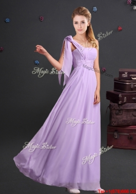 Designer Ruched Chiffon Long Dama Dress with One Shoulder