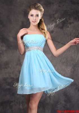 Discount Strapless Short Prom Dress with Sequined Decorated Waist