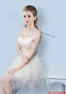 Exquisite Short Sleeves Off the Shoulder Prom Dress in Asymmetrical