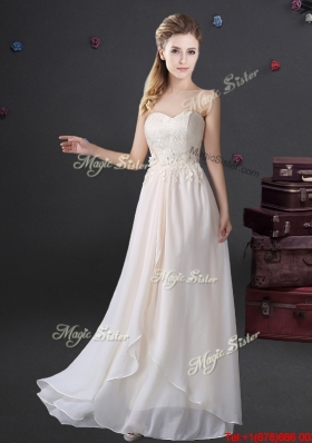 Fashionable Chiffon Applique and Laced Prom Dress with Sweetheart