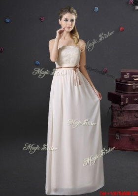 Gorgeous Laced and Belted Strapless Off White Prom Dress in Chiffon