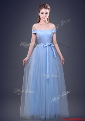 Gorgeous Tulle Bowknot and Ruched Dama Dress with Off the Shoulder