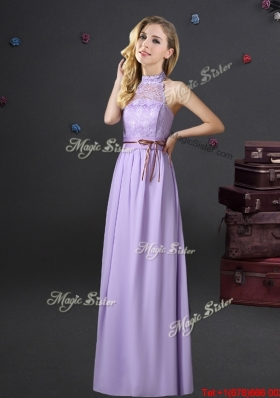 Hot Sale Empire Lavender Chiffon Prom Dress with Halter Top