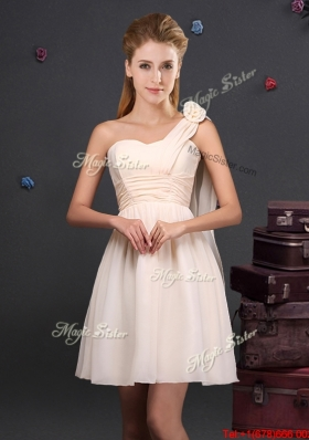 Latest One Shoulder Handmade Flower Dama Dress with Ruching