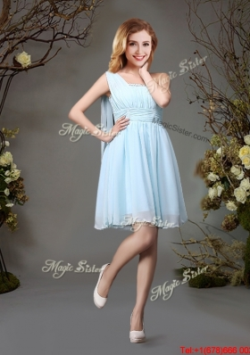 Modest One Shoulder Beaded Top Chiffon Light Blue Prom Dress