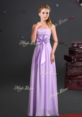 Romantic Lavender Empire Chiffon Long Dama Dress with Strapless