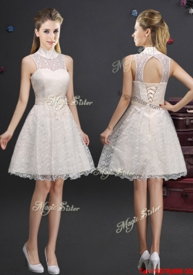 Sexy High Neck Laced Champagne Prom Dress with Appliques
