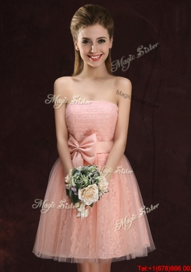 Sexy Laced and Tulle Bowknot Pink Dama Dress with Strapless