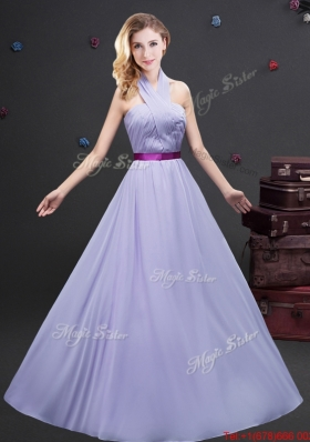 2017 Unique Purple Belt and Ruched Long Prom Dress with Halter Top