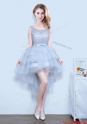 Best Bowknot and Ruffled Layers Grey Prom Dress in High Low
