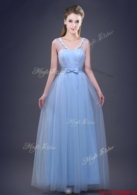 Lovely See Through V Neck Bowknot Prom Dress in Tulle