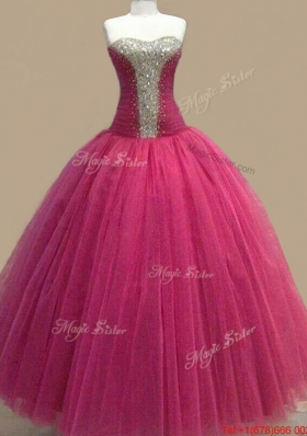 Classical Tulle Beaded Sweetheart Quinceanera Gown in Fuchsia