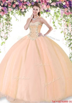 Popular Big Puffy Beaded Peach Quinceanera Dress in Tulle